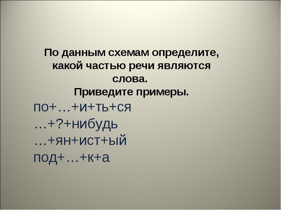 По данным схемам определите, какой частью речи являются слова. Приведите прим...