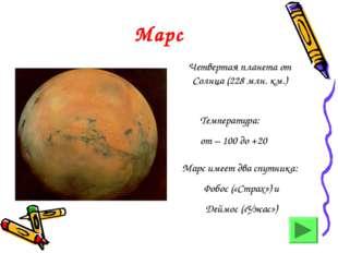 Марс Четвертая планета от Солнца (228 млн. км.) Температура: от – 100 до +20