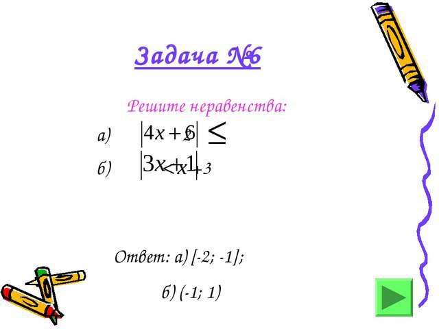 Задача №6 Решите неравенства: а) 2 б) < х +3 Ответ: а) [-2; -1]; б) (-1; 1)