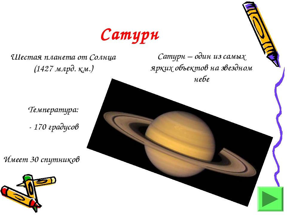 Сатурн Шестая планета от Солнца (1427 млрд. км.) Сатурн – один из самых ярких...