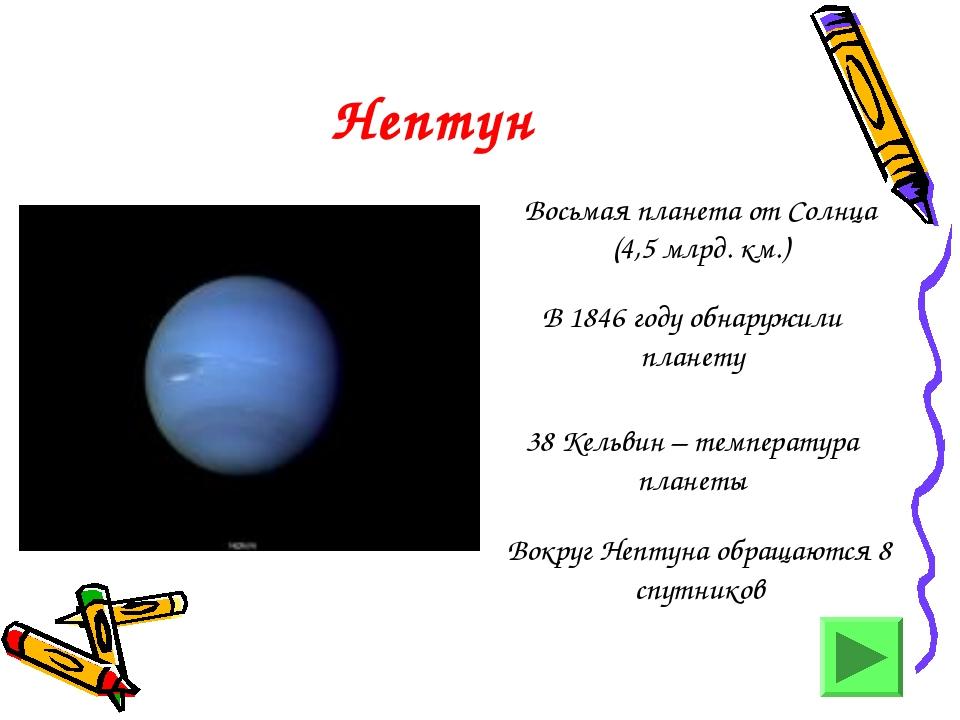 Нептун Восьмая планета от Солнца (4,5 млрд. км.) В 1846 году обнаружили плане...