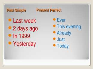 Past Simple Present Perfect Last week 2 days ago In 1999 Yesterday Ever This