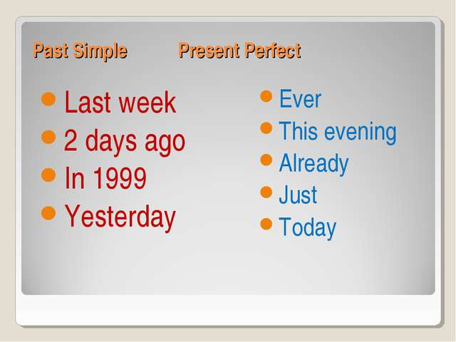 Past Simple Present Perfect Last week 2 days ago In 1999 Yesterday Ever This...