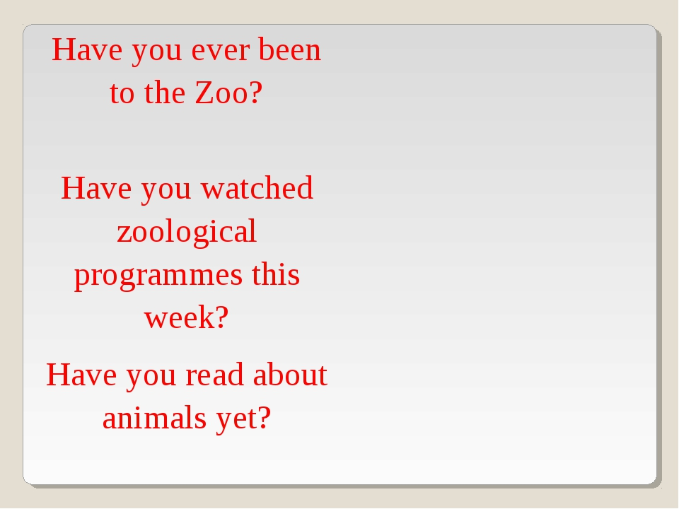 Have you ever been to the Zoo?	 Have you watched zoological programmes this w...