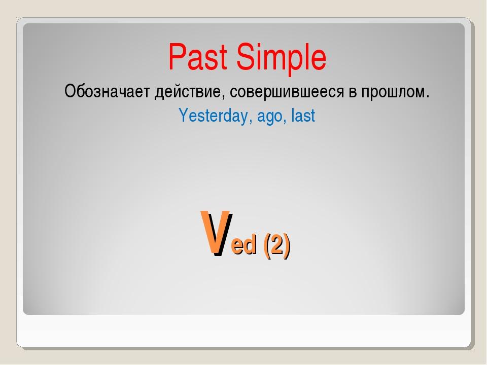 Ved (2) Past Simple Обозначает действие, совершившееся в прошлом. Yesterday,...
