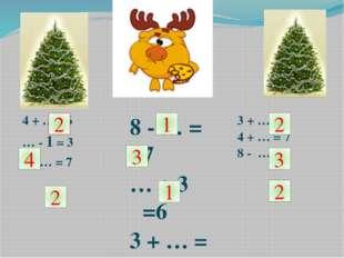 4 + … =6 … - 1 = 3 9 - … = 7 8 - … = 7 … + 3 =6 3 + … = 4 3 + … = 5 4 + … = 7