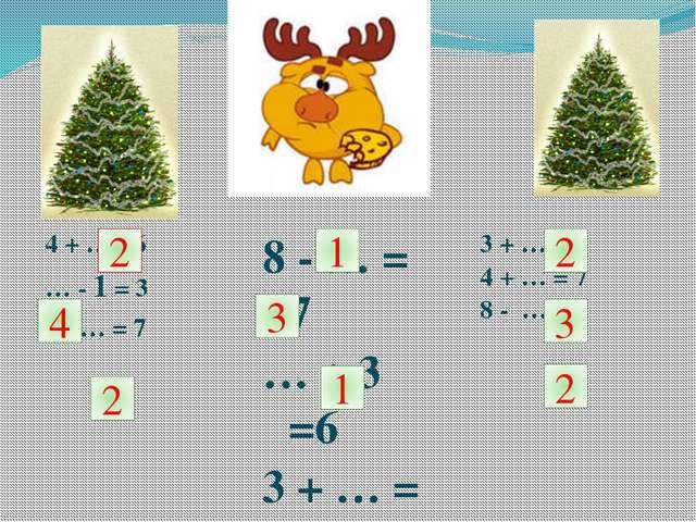 4 + … =6 … - 1 = 3 9 - … = 7 8 - … = 7 … + 3 =6 3 + … = 4 3 + … = 5 4 + … = 7...