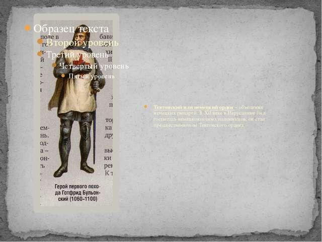 Тевтонский или немецкий орден – объединял немецких рыцарей. В XII веке в Иеру...