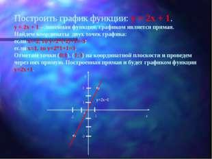 Построить график функции: у = 2х + 1. у = 2х + 1 – линейная функция, графиком