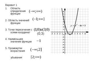 Вариант 1 Область определения функции 2. Область значений функции 3. Точки пе