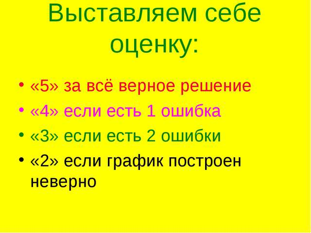 Выставляем себе оценку: «5» за всё верное решение «4» если есть 1 ошибка «3»...