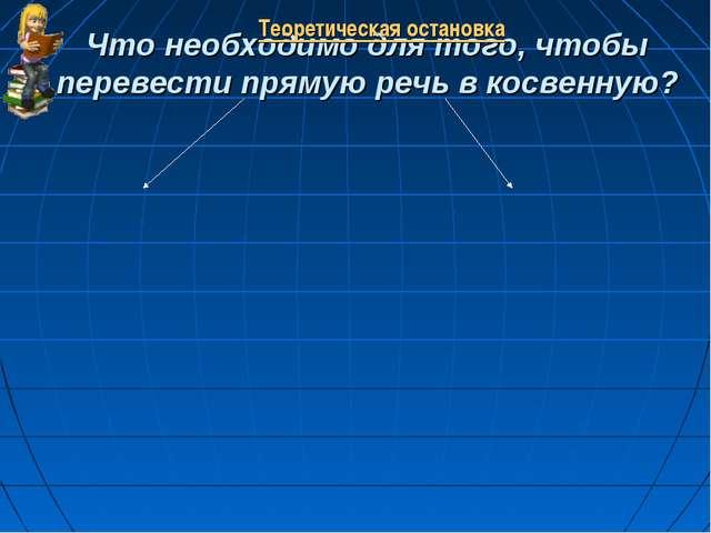 Что необходимо для того, чтобы перевести прямую речь в косвенную? Теоретическ...
