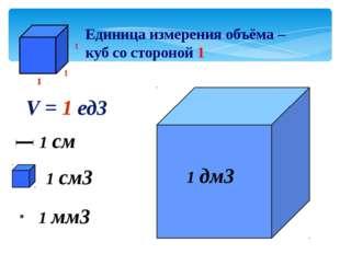 Единица измерения объёма – куб со стороной 1 1 см3 1 мм3 V = 1 ед3 1 дм3 1 см