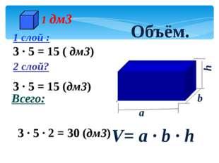 3 · 5 = 15 (дм3) 1 слой : 3 · 5 = 15 ( дм3) 2 слой? Всего: 3 · 5 · 2 = 30 (д