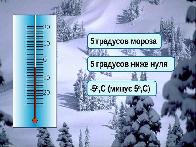 5 градусов мороза 5 градусов ниже нуля -5о,С (минус 5о,С)