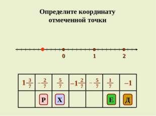 0 1 2 E Д Р Х –1 Определите координату отмеченной точки