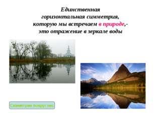 Единственная горизонтальная симметрия, которую мы встречаем в природе,- это о