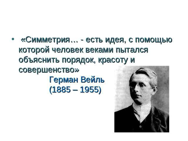 «Симметрия… - есть идея, с помощью которой человек веками пытался объяснить...