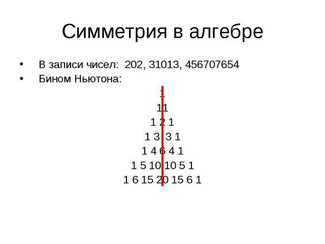 Симметрия в алгебре В записи чисел: 202, 31013, 456707654 Бином Ньютона: 1 11...
