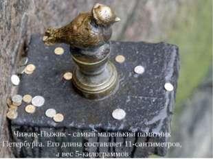 Чижик-Пыжик - самый маленький памятник Петербурга. Его длина составляет 11-са