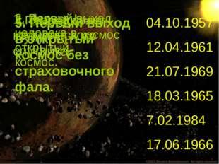 1. Запуск I космического спутника. 2. Первый выход человека в открытый космос