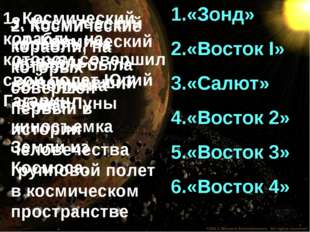 «Зонд» «Восток I» «Салют» «Восток 2» «Восток 3» «Восток 4» 1. Космический кор