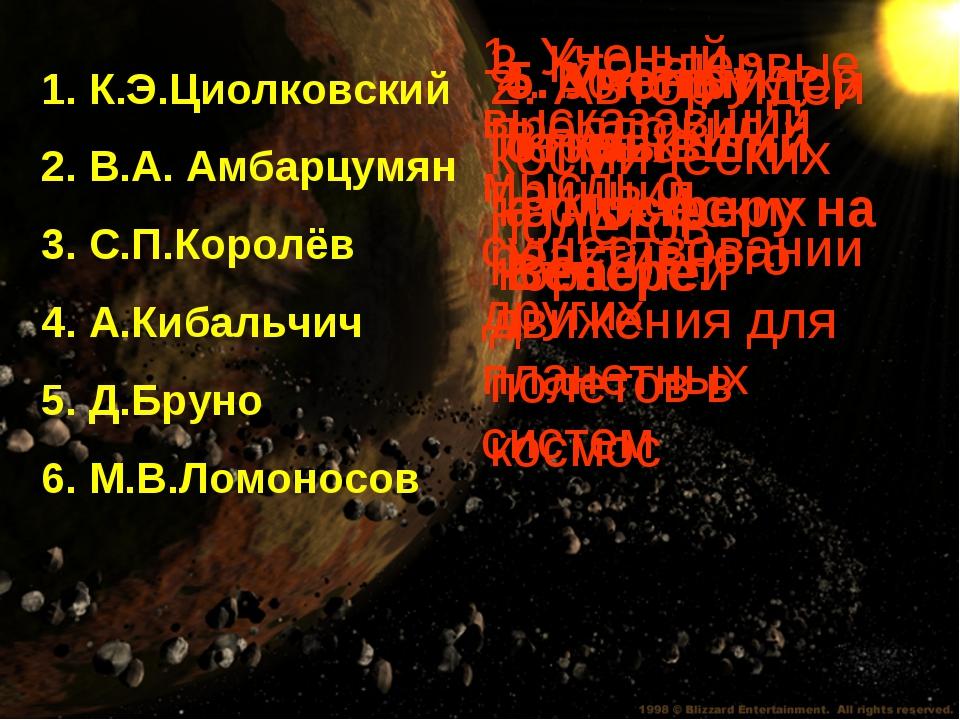 1. К.Э.Циолковский 2. В.А. Амбарцумян 3. С.П.Королёв 4. А.Кибальчич 5. Д.Брун...