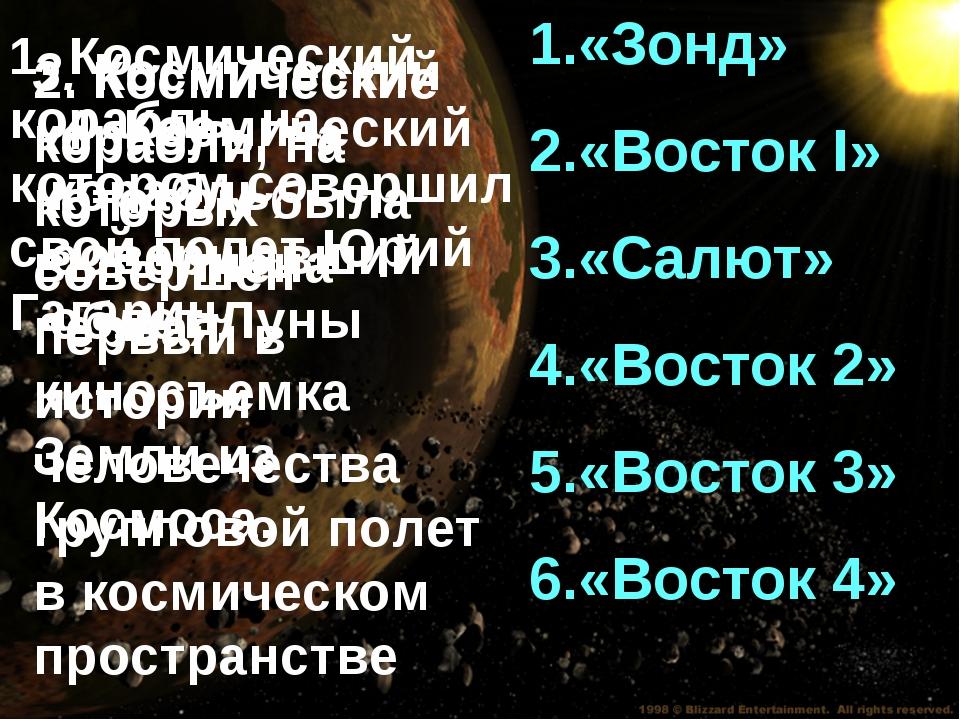 «Зонд» «Восток I» «Салют» «Восток 2» «Восток 3» «Восток 4» 1. Космический кор...