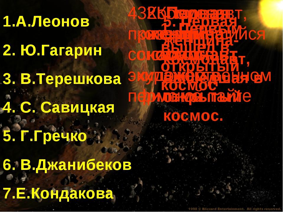 1.А.Леонов 2. Ю.Гагарин 3. В.Терешкова 4. С. Савицкая 5. Г.Гречко 6. В.Джаниб...