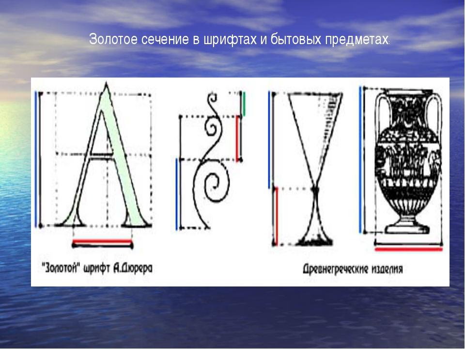 Золотое сечение в шрифтах и бытовых предметах: