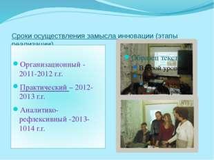 Сроки осуществления замысла инновации (этапы реализации) Организационный - 20