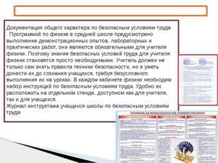 Документация общего характера по безопасным условиям труда Программой по физи