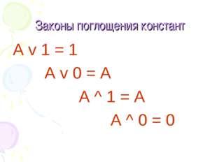 Законы поглощения констант А v 1 = 1 А v 0 = A А ^ 1 = A A ^ 0 = 0