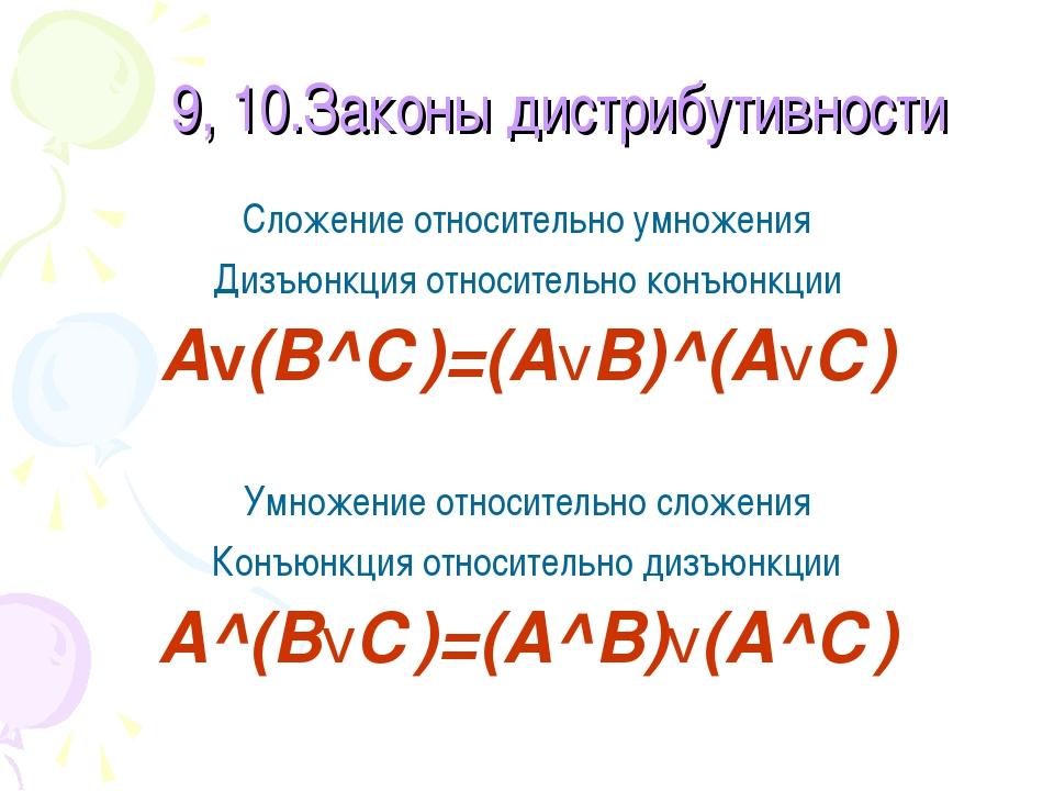 9, 10.Законы дистрибутивности Сложение относительно умножения Дизъюнкция отно...