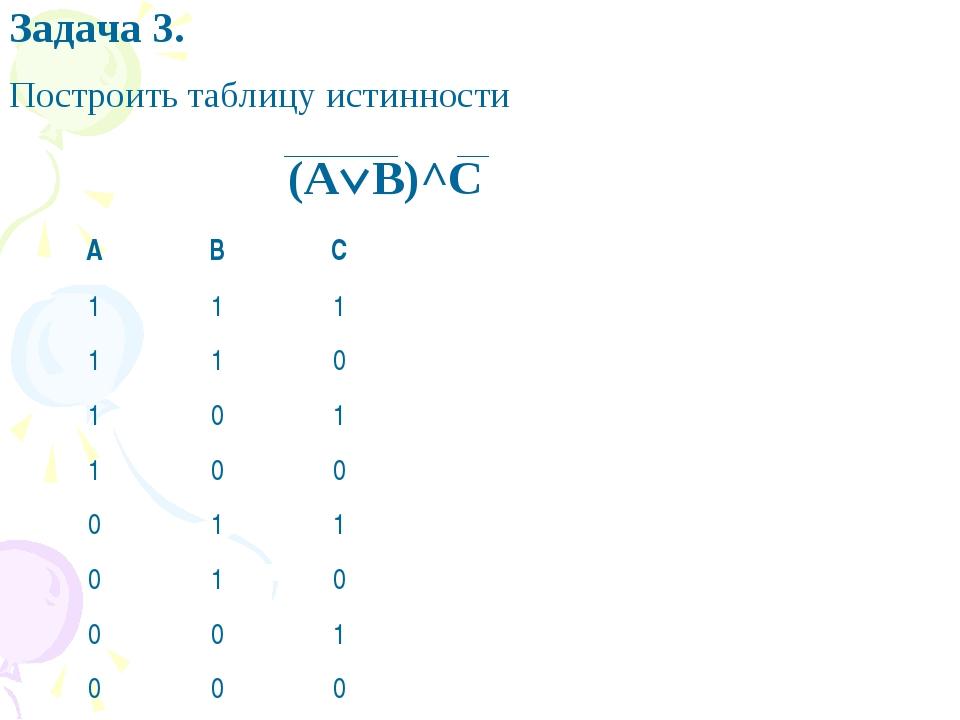 (AB)^C Задача 3. Построить таблицу истинности ABC 111 110...