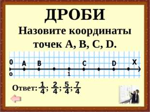 ДРОБИ * * Назовите координаты точек А, В, С, D.