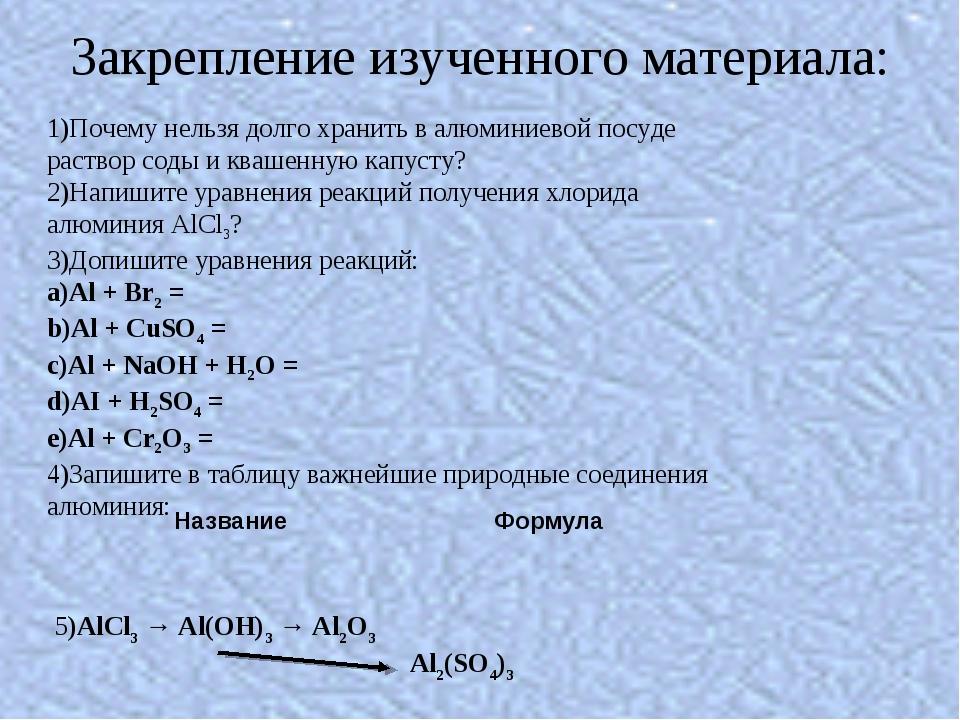 Закрепление изученного материала: 1)Почему нельзя долго хранить в алюминиевой...