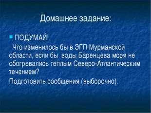 Домашнее задание: ПОДУМАЙ! Что изменилось бы в ЭГП Мурманской области, если б