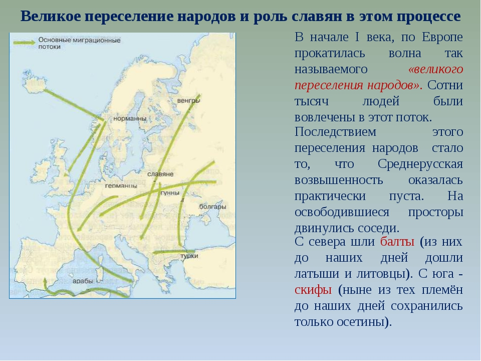 Великое переселение народов и роль славян в этом процессе В начале I века, по...