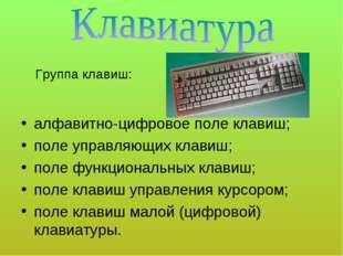алфавитно-цифровое поле клавиш; поле управляющих клавиш; поле функциональных