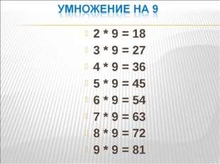 2 * 9 = 18 3 * 9 = 27 4 * 9 = 36 5 * 9 = 45 6 * 9 = 54 7 * 9 = 63 8 * 9 = 72