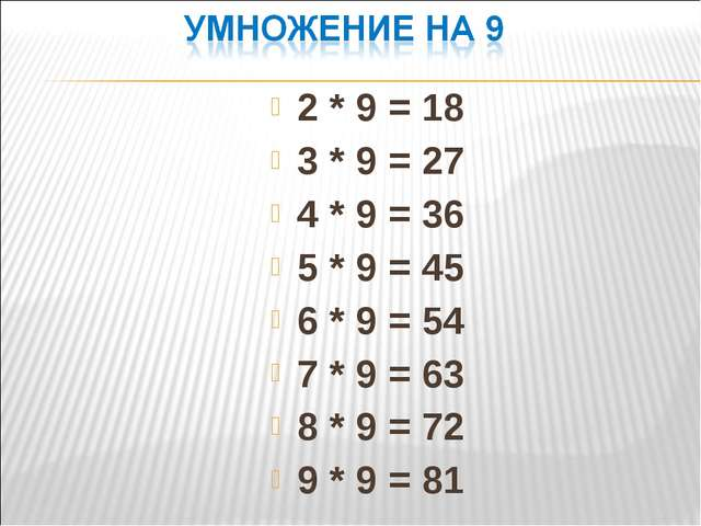 2 * 9 = 18 3 * 9 = 27 4 * 9 = 36 5 * 9 = 45 6 * 9 = 54 7 * 9 = 63 8 * 9 = 72...