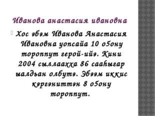 Иванова анастасия ивановна Хос эбэм Иванова Анастасия Ивановна уопсайа 10 о5о