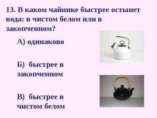 13. В каком чайнике быстрее остынет вода: в чистом белом или в закопченном? А