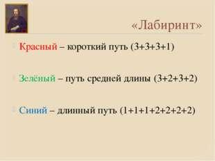 «Лабиринт» Красный – короткий путь (3+3+3+1) Зелёный – путь средней длины (3+