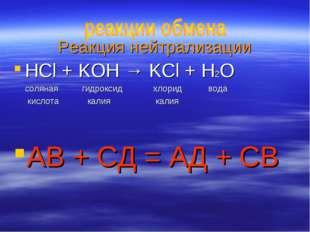 Реакция нейтрализации HCl + KOH → KCl + H2O соляная гидроксид хлорид вода кис