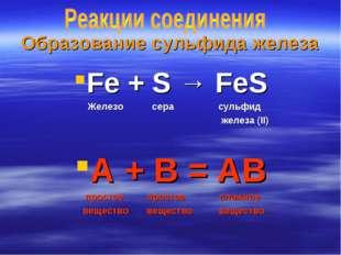 Образование сульфида железа Fe + S → FeS Железо сера сульфид железа (II) А +