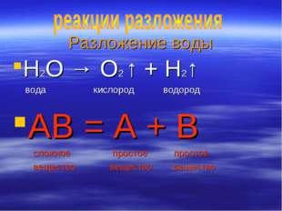 Разложение воды H2O → O2 ↑ + H2↑ вода кислород водород АВ = А + В сложное про