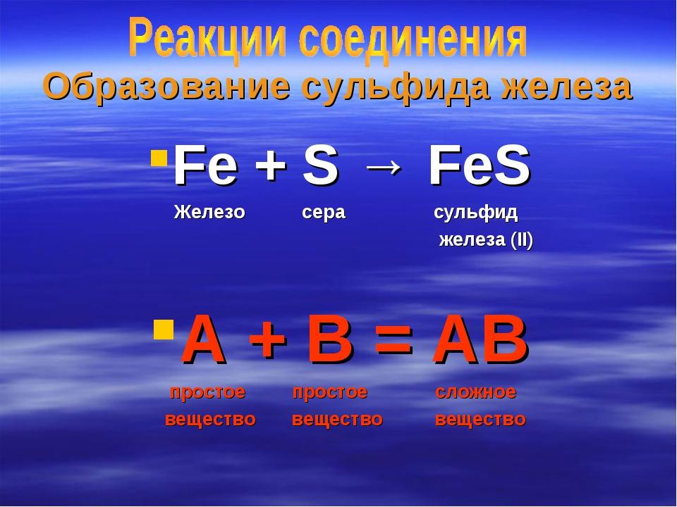 Образование сульфида железа Fe + S → FeS Железо сера сульфид железа (II) А +...