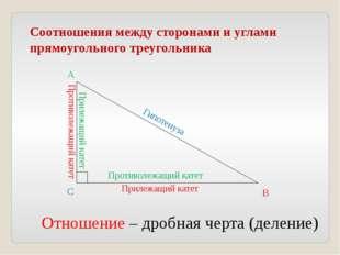 Соотношения между сторонами и углами прямоугольного треугольника Прилежащий к